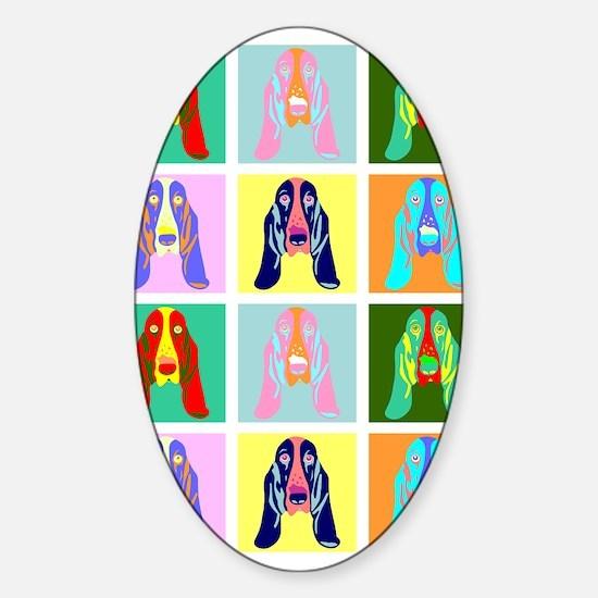 Basset Hound Pop Art Sticker (Oval)