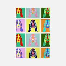 Basset Hound Pop Art Rectangle Magnet