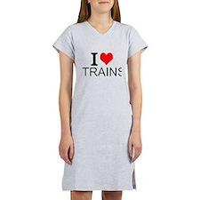 I Love Trains Women's Nightshirt