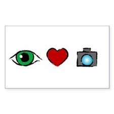 WTD: I Love Photography Rectangle Decal