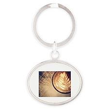 Be Still latte art Oval Keychain