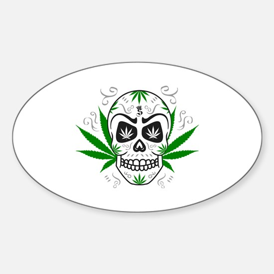 Skull ganja logo 3c Decal