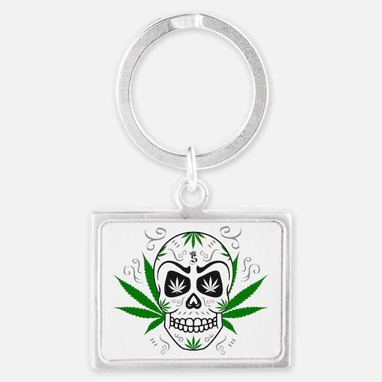 Skull ganja logo 3c Keychains