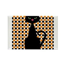 Black Cat on Orange and Black Magnets
