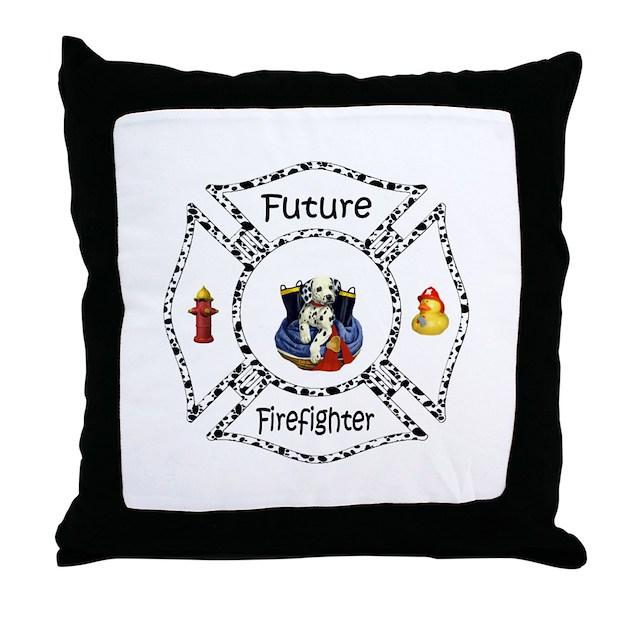 Future Firefighter Dalmatian Throw Pillow by bonfiredesigns
