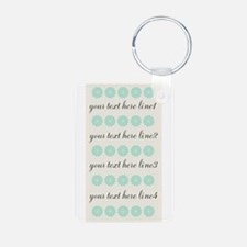 Cute Mint Floral Aluminum Photo Keychain