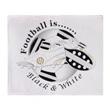 Football Colors Black and White Throw Blanket