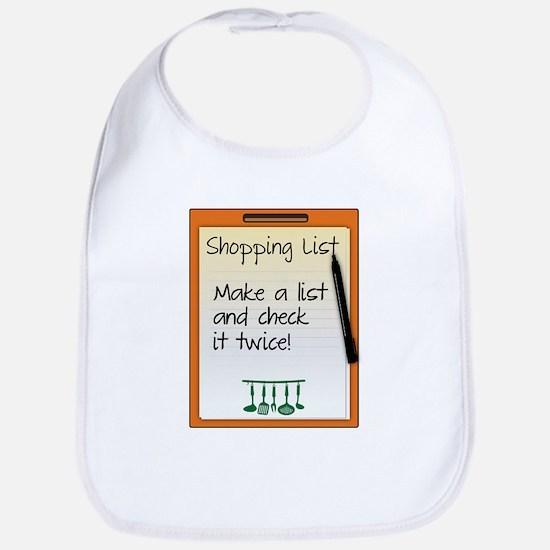 Shopping List make a list and check it twice! Bib