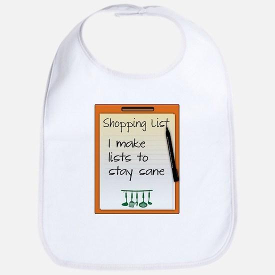 Shopping List I make lists to stay sane Bib