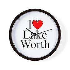 """I Love Lake Worth"" Wall Clock"