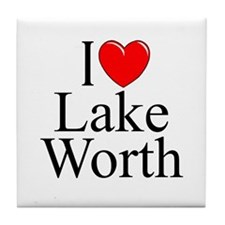 """I Love Lake Worth"" Tile Coaster"