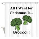 Christmas Broccoli Shower Curtain
