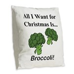 Christmas Broccoli Burlap Throw Pillow