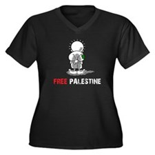 free palest Women's Plus Size V-Neck Dark T-Shirt