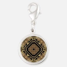 Art Deco Black Gold 1 Silver Round Charm