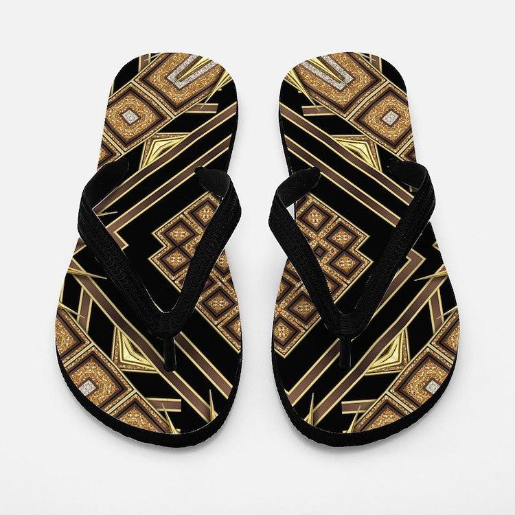 Art Deco Black Gold 1 Flip Flops