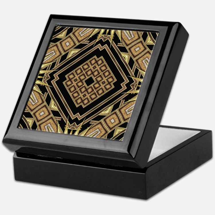 Art Deco Black Gold 1 Keepsake Box