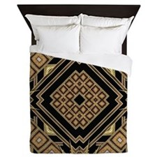 Art Deco Black Gold 1 Queen Duvet