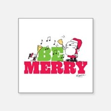 "Snoopy: Be Merry Square Sticker 3"" x 3"""