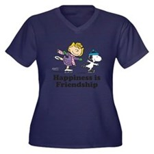 Happiness is Women's Plus Size V-Neck Dark T-Shirt