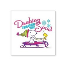"Snoopy and Woodstock Dashin Square Sticker 3"" x 3"""