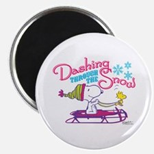 Snoopy and Woodstock Dashing Through Snow Magnet