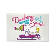 Snoopy and Woodstock Dashing Thro Rectangle Magnet