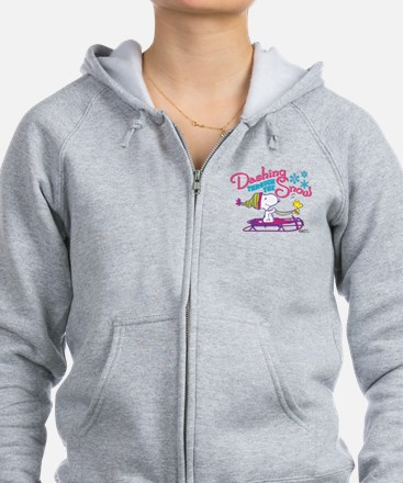 Snoopy and Woodstock Dashing Th Zipped Hoody