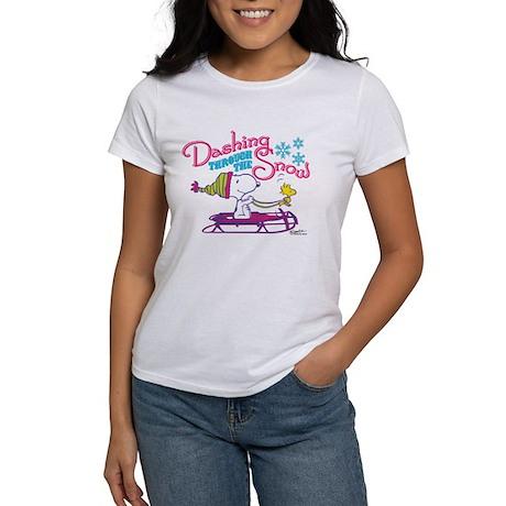 Snoopy Dashing Through the Snow T-Shirt