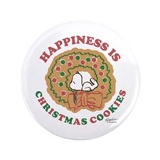 """Snoopy:Hapiness is Christmas Cookies 3.5"""" Button"""
