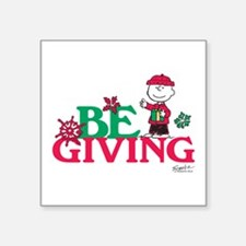 "Charlie Brown: Be Giving Square Sticker 3"" x 3"""