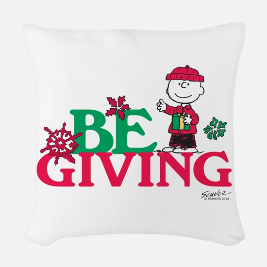 Charlie Brown: Be Giving Woven Throw Pillow