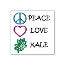 "Peace Love Kale Square Sticker 3"" x 3"""