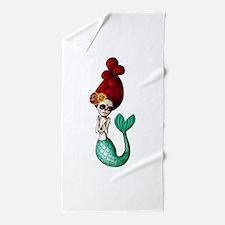 El Dia de Los Muertos Mermaid Beach Towel