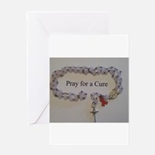 Pink Rosary with Pink Ribbon Charm Greeting Cards