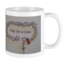 Pink Rosary with Pink Ribbon Charm Mugs