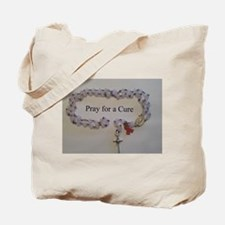 Pink Rosary with Pink Ribbon Charm Tote Bag