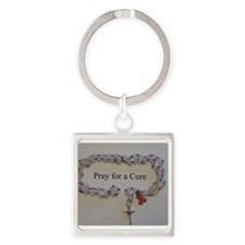 Pink Rosary with Pink Ribbon Charm Keychains