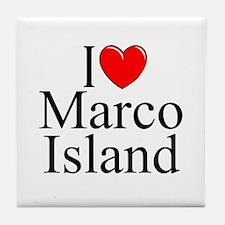 """""""I Love Marco Island"""" Tile Coaster"""