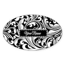 Personalize Floral Swirls [b/w] Sticker