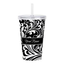 Personalize Floral Swirls [b/w] Acrylic Double-wal