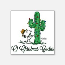 "O Christmas Cactus Square Sticker 3"" x 3"""