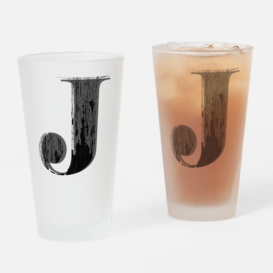Grungy letter J Drinking Glass