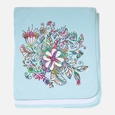Colorful floral drawing baby blanket