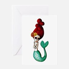El Dia de Los Muertos Mermaid Greeting Cards