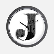 Grungy letter J Wall Clock