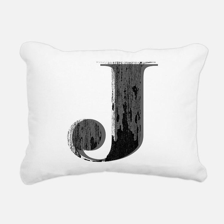 Grungy letter J Rectangular Canvas Pillow