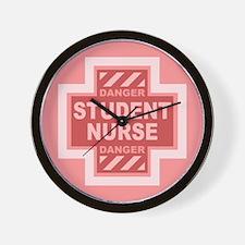 Danger Student Nurse -pink Wall Clock