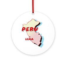Peru Map Ornament (Round)