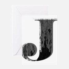 Grungy letter J Greeting Cards
